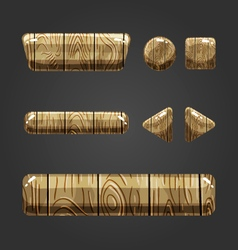 Set of wooden button for game design-3 vector image
