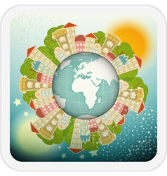 Small Planet with Little Town vector image