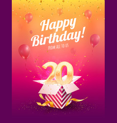 20 years anniversary banner template vector image