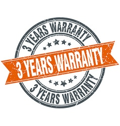 3 years warranty round orange grungy vintage vector