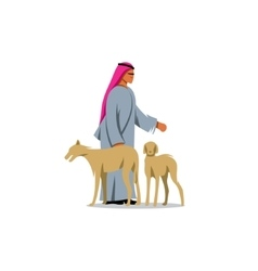 Arab man Shekih in traditional dress and two vector image