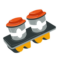 aromatic coffee in cup holder takeaway beverages vector image