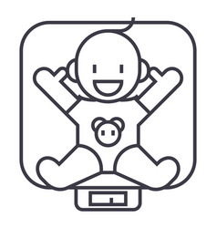 baby on scales line icon sign vector image