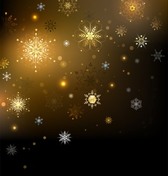 Background with Gold Snowflakes vector image