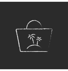 Beach bag icon drawn in chalk vector