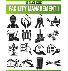 Black icon set facility management i vector