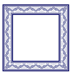 blue square frame in the traditional style of vector image