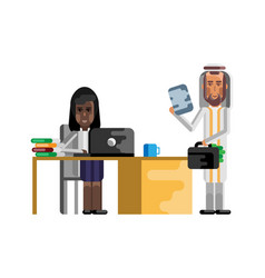 Business meeting arabic businessman with woman vector