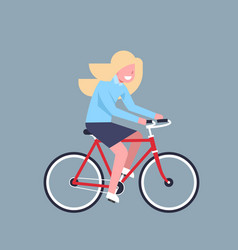business woman riding bicycle office worker vector image