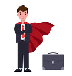 Businessman in suit and red cloak with suitcase vector