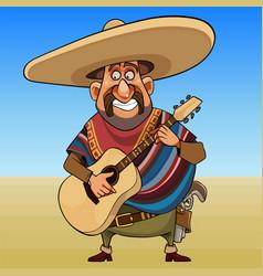 cartoon cheerful mustache man in a sombrero with a vector image