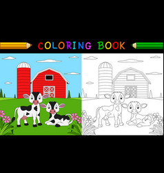 cartoon cow coloring book vector image