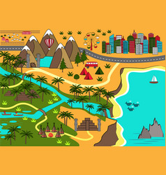 cartoon map with interesting adventure objects vector image