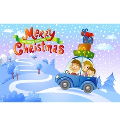 Christmas family trip vector