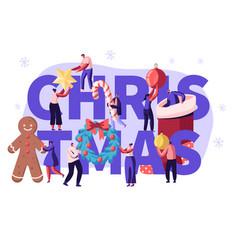 christmas season concept with tiny people vector image