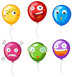 colorful balloons with different facial vector image