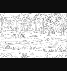 Coloring book landscape vector