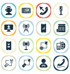 connection icons set with mobile network call vector image