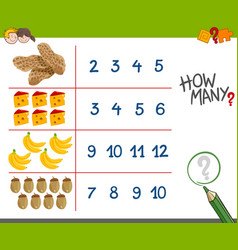 counting activity with food objects vector image