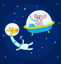 Cute animal astronauts spacemen elephant in vector