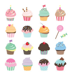 cute cupcakes set isolated on white vector image