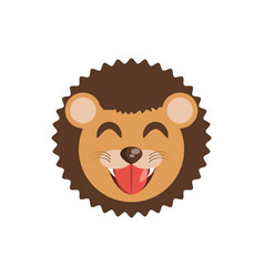 cute face lion animal cheerful vector image
