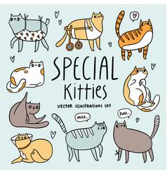cute special cats cartoon set vector image