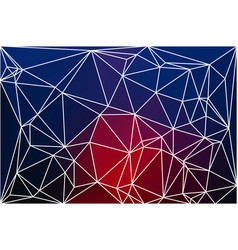 Deep blue and red geometric background with mesh vector