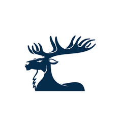 Deer with big antlers profile view stag mascot vector