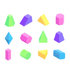 different shape prism collection on white backdrop vector image