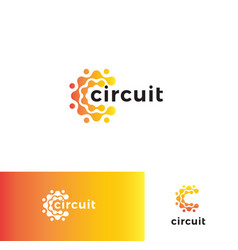 digital stylized circuit board logo set vector image