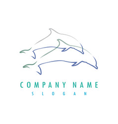 Dolphin outlines logo vector