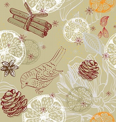 Doodle background with citrus bird and snowflakes vector