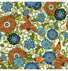 Doodle seamless background in with flowers vector image