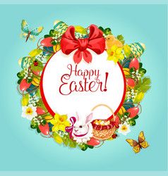 easter floral wreath frame for festive card design vector image vector image