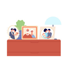 family portraits in frames couple children photo vector image