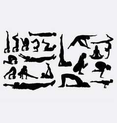 female yoga sport activity silhouette vector image