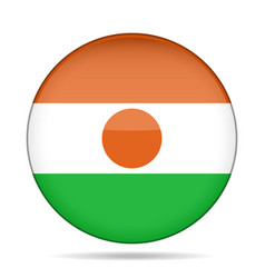 Flag of niger shiny round button vector