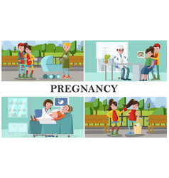 flat maternity and pregnancy composition vector image