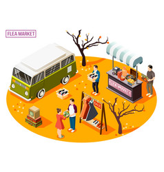 flea market isometric composition vector image