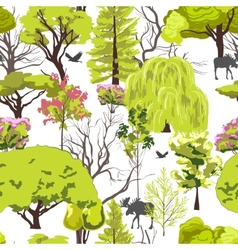 Forest tree sketch seamless vector image