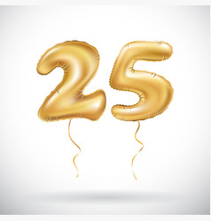 Golden number 25 twenty five metallic balloon vector