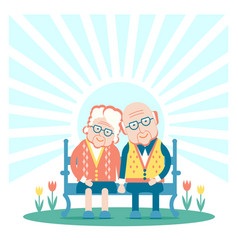 Grandparents are sitting outdoor vector