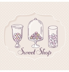 Hand drawn candy bar objects Pastry shop label vector image