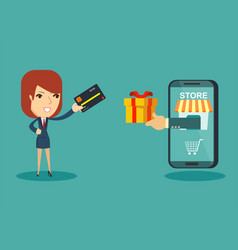 happy businesswoman use credit card to shopping vector image