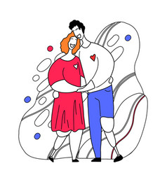 Happy couple with legs prosthesis hugging and vector