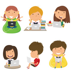 Happy girls learn and do homework computer vector