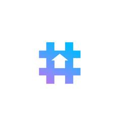 hashtag symbol arrow logo icon design template vector image