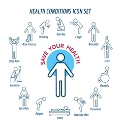 Health conditions icons vector
