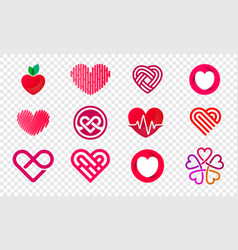 Heart logos set abstract icons vector